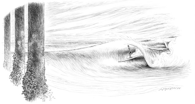 An artistic rendering of Nick Gabaldon's last wave at the Malibu Pier. Gabaldon is credited with being the first documented African American surfer. Art: Peter Spacek