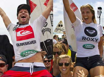 And they're off! Taj Burrow and Steph Gilmore registered victories at Snapper Rocks to kick off the 2012 ASP World Tour.