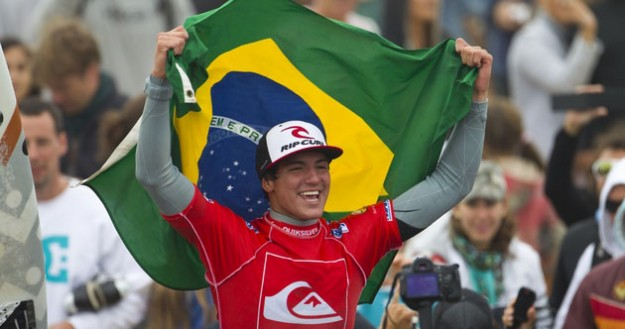 Gabriel Medina has recently emerged as Brazil's trendsetter – a counterpoint to much of the negative press his contemporaries have endured. Gabriel, pictured at his inaugural ASP World Tour victory in France last year. Photo: ASP/Kirstin