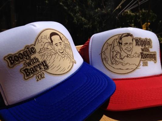Barrack Obama and Mitt Romney Surf Hats