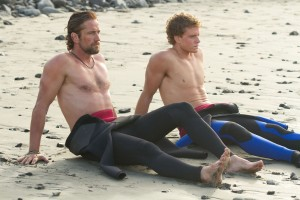 Gerard Butler and Jonny Weston who plays Jay Moriarity in Chasing Mavericks.