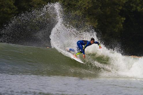 Brazilian superstar Gabriel Medina cracks one off the lip at Wavegarden in Basque Country, Spain.