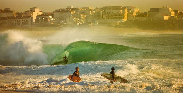 Portugal's Supertubos is one place you absolutely cannot miss, no matter how fast you're going. Photo: Lucas Tozzi