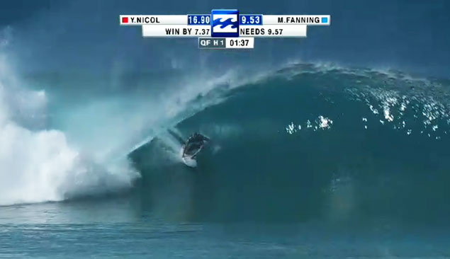 Mick Fanning...getting the score he needed to claim the World Title during the Quarterfinal against Yadin Nicol.