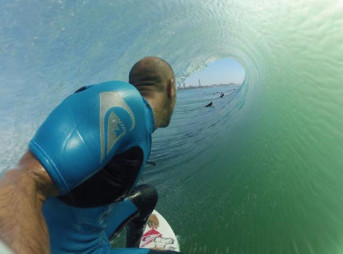 Kelly Slater putting the newest sponsor through its paces. Photo: Kelly Slater