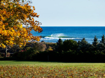 October foliage and a clean point break surf in New Hampshire. Photo: Brian Nevins