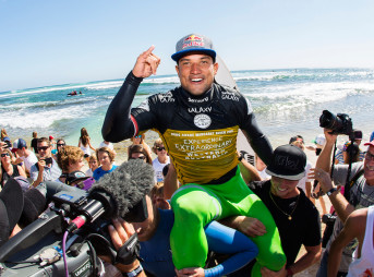 The Drug Aware Margaret River Pro was an event full of shiny newness. To begin with, this was the first year it was a World Tour event. Then part of the contest was run at The Box. And then, to top it all off, a man who has never won an ASP event held up the trophy. Photo: Kirstin/ASP