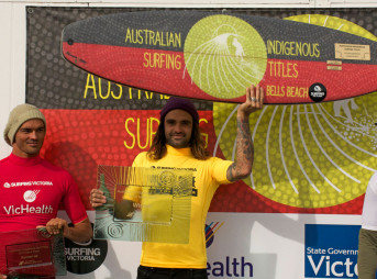 Otis Carey's got a new trophy under his belt. He took home the win at the Australian Indigenous Surfing Championship at Bells Beach this week.