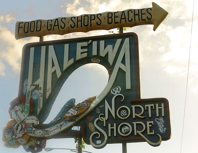The iconic Hale'iwa sign on Oahu's North Shore. Welcome to paradise. Photo: Wikimedia Commons