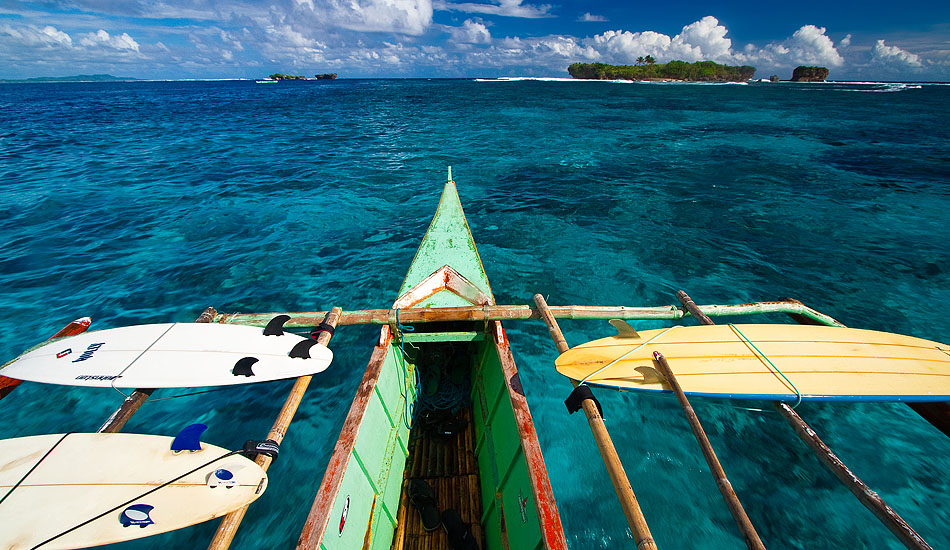 The bamboo outriggers on a Filipino 'bangka' boat may have been designed for stability, but they're also pretty handy for carrying surf boards around a place like Siargao.