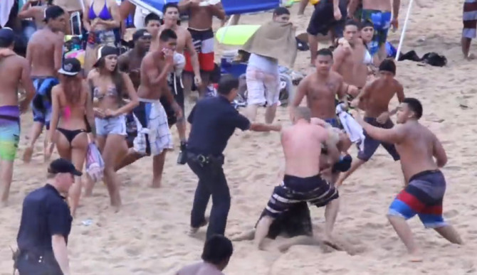 Well, that was unpleasant. A beach fight at Waimea escalated quickly.
