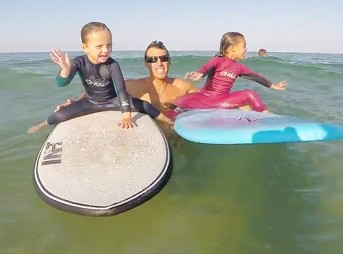 For me, this video means gratitude–to share the stoke with a good friend and our kids learning to surf together.