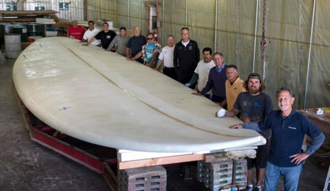 """""""Hey man, just stopping by to see if my board's ready. You said 5-7 weeks."""" The crew that took on one heck of an order card. Photo: OCRegister/Ed Crisostomo"""