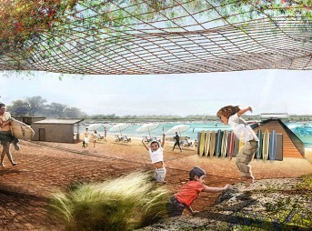 Architect's rendering of NLand Surf Park, opening in Austin, Texas in 2016 Photo: Courtesy of NLand Surf Park