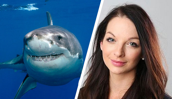 A great white shark and Laura Banks of the DailyTelegraph. Who here is the monster? - featt27