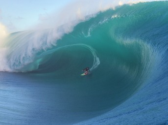 Keala Kennelly (Haleiwa, Hawaii, USA) rides the biggest tube ever challenged by a woman surfer at Teahupoo, Tahiti on July 22, 2015. The image is an entry in the 2016 WSL Big Wave Awards.  Exceptionally large surf has been experienced worldwide in 2015.