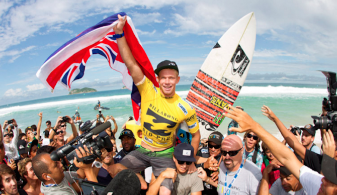 John John raises the Hawaiian flag in Rio. Even though it's technically part of the United States, in surfing Hawaii has almost always been recognized distinctly. Photo: WSL