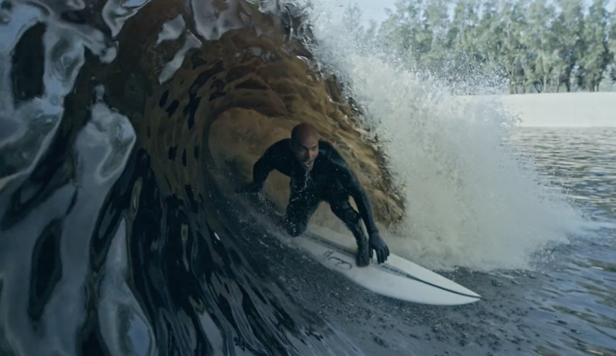 Kelly Slater Wave Pool Barrel from water