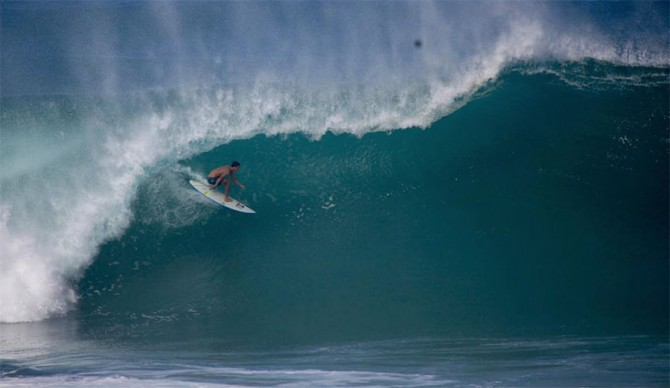 Evan Geiselman just suffered a terrible wipeout at Pipeline. Photo: Matt Hoffman/Gnarbox