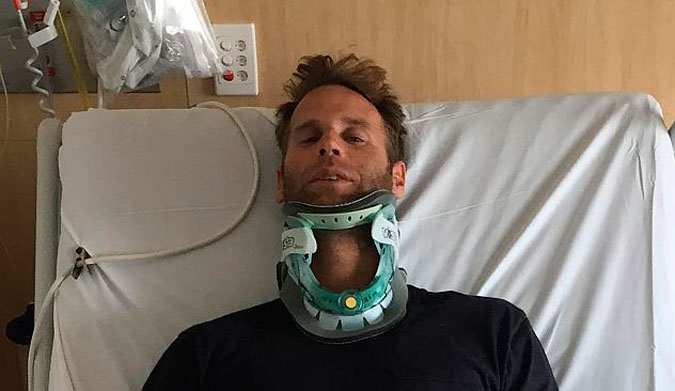 Berg in the hospital after breaking his neck. Photo: GCB