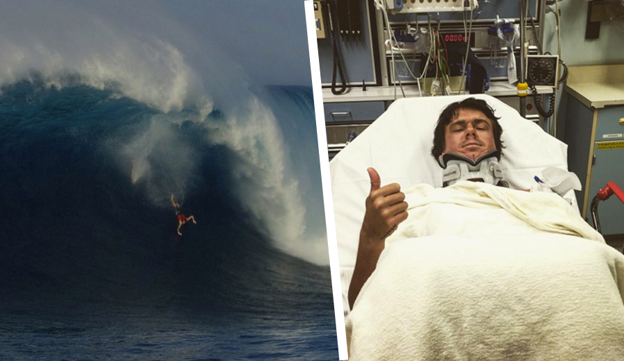 No broken bones, but a bit of muscle damage from Albee's wipeout at Jaws. Photos: @acl_cinema / @johnjohn_slater