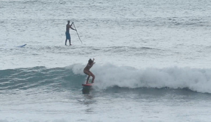Leila Riccobuano may be young in age, but her dancing skills are well refined...even while on a wave.