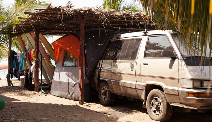 """Base camp: our """"home"""" in Saladita. Photo Courtesy of Two Feet and Classy"""