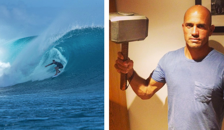 Kelly Slater Surfing with Chris Hemsworth, Steals Thor's ...