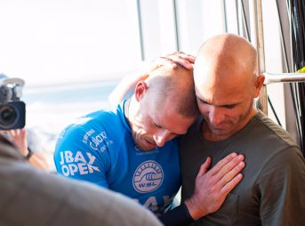 Mick Fanning and Kelly Slater after the shark attack heard 'round the world almost one year ago. Mick has just announced that he'll be competing at J-Bay this year.