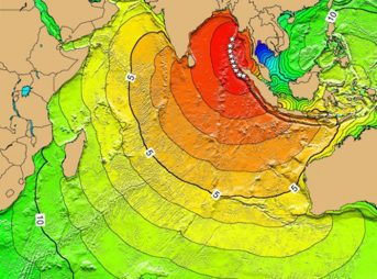 NOAA's tsunami map for the 2004 Indian Ocean tsunami. The map calculates the first-arrival travel times of the tsunami, following their generation at the earthquake epicenter. Image: Wikimedia Commons