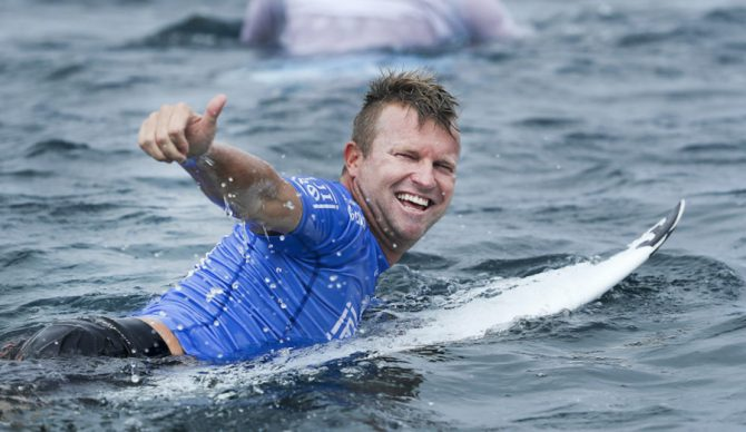 Taj Burrow just surfed his last World Tour heat after narrowly losing to John John Florence at the Fiji Pro. It may not have been the storybook ending to his professional surfing career, but he, as usual, was grinning ear to ear. Photo: WSL / Kelly Cestari