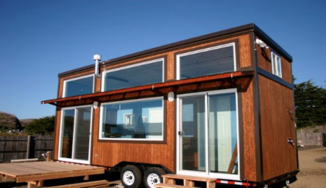 Surf checks are no problem from inside this surfer's portable tiny home.