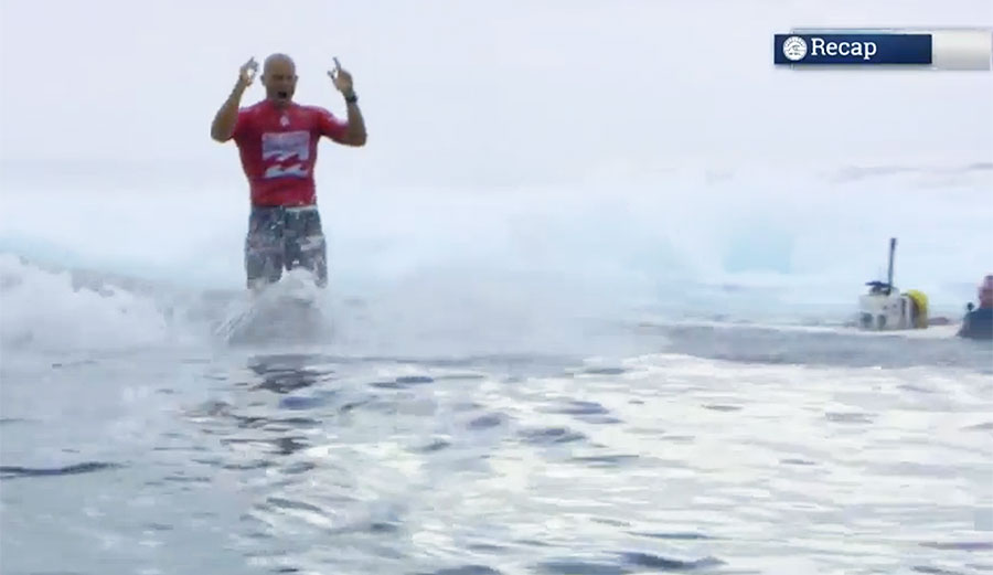 Kelly Slater, celebrating his second perfect ten in one heat.