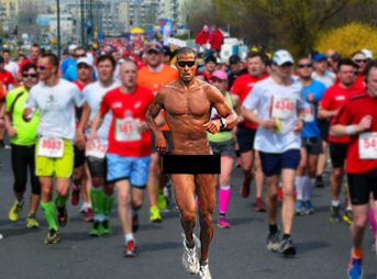Streaking is for slackers. 30 seconds and it's over. Running a marathon in the nude is a commitment.