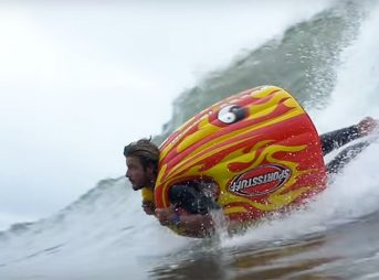 Usually when one sees someone surfing on something strange, that someone is Jamie O'Brien. Usually.