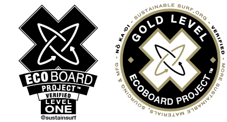 These logos designate more sustainable surfboards verified by the ECOBOARD Project.