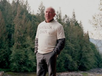 Patagonia founder, Yvon Chouinard, at the start of the Elwha Dam removal, the largest in the history of the United States. His shirt calls out the dam he'd like to see come down next. Photo: Michael Hanson