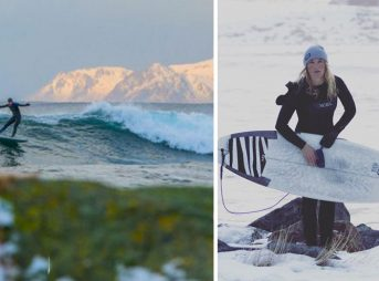 Pro surfer Maria Petersson has not called Sweden home for the past nine years—her surf travels as far flung as the Arctic circle. Photos: Edvart-Alsos/Instagram.