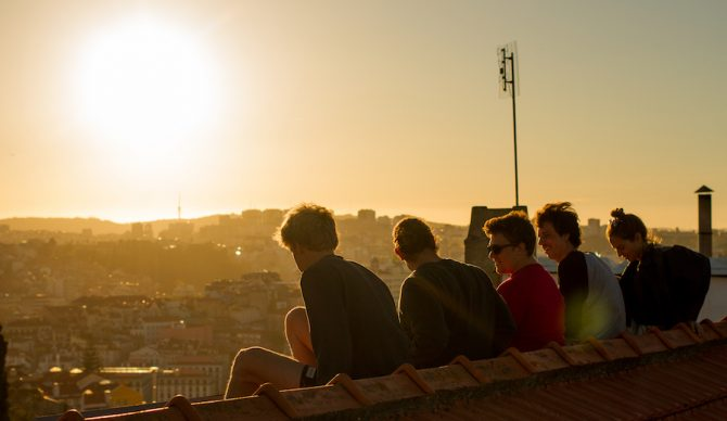 What wall? SurfScholars enjoying a Lisbon rooftop sunset. Photo: Luke Dawson