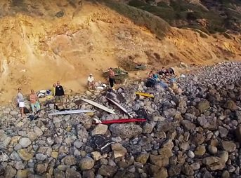 The scene at Lunada Beach as shot by a drone. Seconds later a rock was thrown at this drone. Image: Youtube