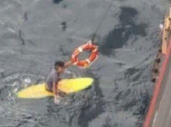 Luckily, the man was spotted after 16 hours at sea. Photo: MSC