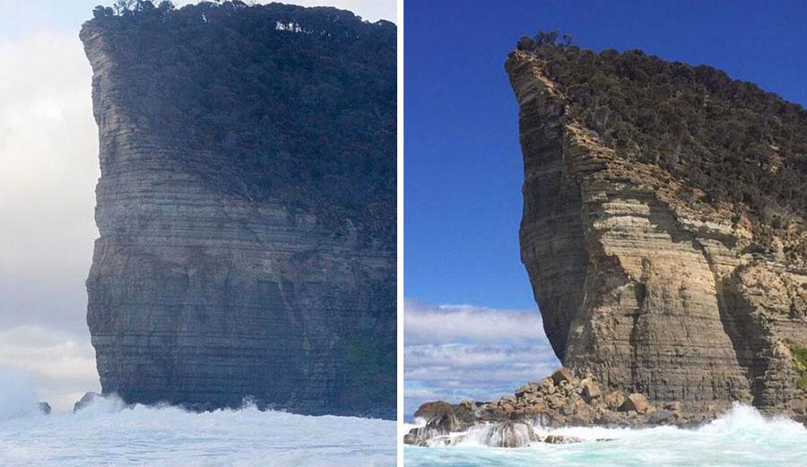 Tasmania's Shipstern Bluff collapsed.