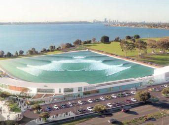 An artist's rendering of Perth's URBNSURF, using Wavegarden's newest technology. Image: URBNSURF