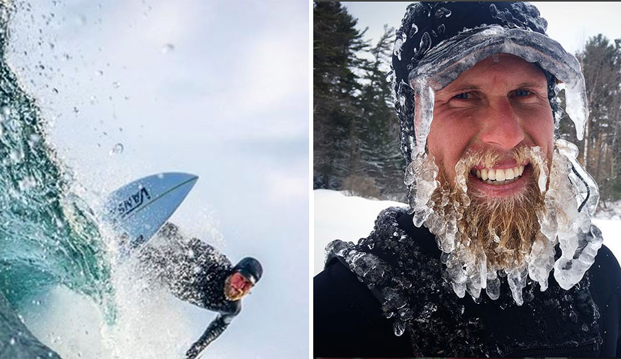 Dane Gudauskas went looking for waves there recently, and of course, he came back with the obligatory ice-beard shot.