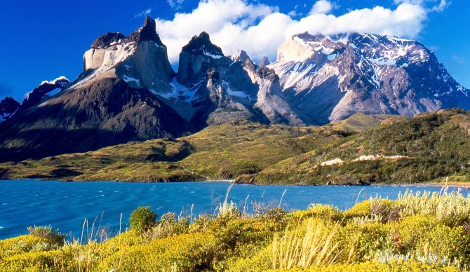 Torres del Paine from Lake Pehoé, Chile. More gorgeous land like this will be protected thanks to Tompkins and Chilean President Michelle Bachelet. Photo: Miguel Vieira