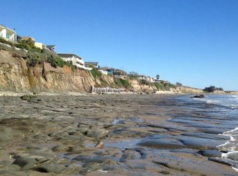 Bedrock exposed at low tide along the beach at Isla Vista, California. Photo: Alex Snyder/U.S. Geological Survey