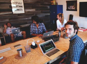 Working at the Outsite Santa Cruz Co-working space with guests. Image: Courtesy of Outsite