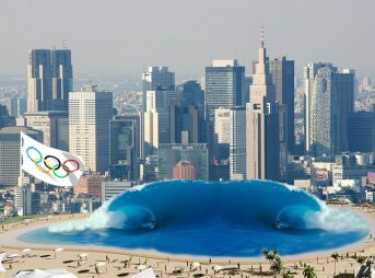 An artist's rendering of the Tokyo wave pool.