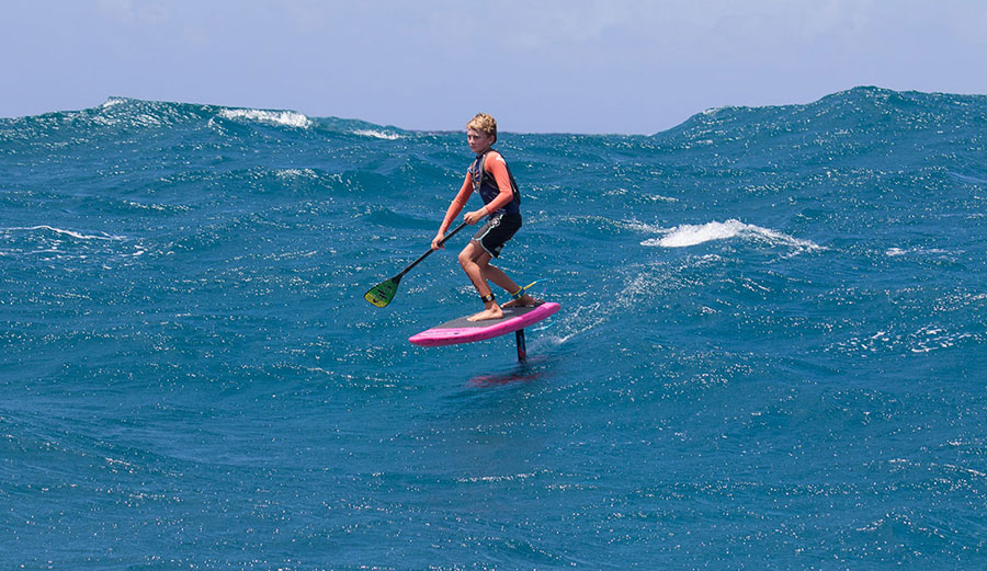 Finn spent a lot of time leading the pack on his SUP hydrofoil.