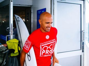 "Kelly Slater at the 2017 Outerknown Fiji Pro. Hey, who can blame the fella from supporting possibly the best event on tour? But it does feel a little ""off."" Photo: WSL/Ed Sloane"